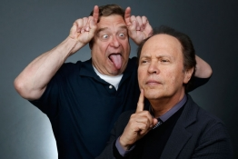 "Actors John Goodman and Billy Crystal pose for a portrait while promoting the animated film ""Monsters University"" in Beverly Hills."