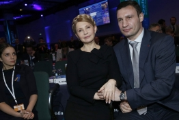 Ukrainian opposition politicians Yulia Tymoshenko and Vitaly Klitschko sit together at the European People's Party (EPP) Elections Congress in Dublin.