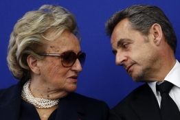 Former French President Nicolas Sarkozy and Bernadette Chirac attend the inauguration of the Institut Claude Pompidou.