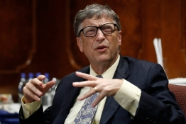 Microsoft technology advisor Bill Gates speaks in a news conference in Ethiopia's capital Addis Ababa.