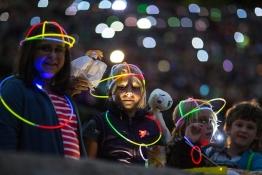 Children watch German band Rumpelstil during the Taschenlampen (Flashlight) concert in Berlin.