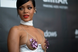 Rihanna poses at the amfAR's Fifth Annual Inspiration Gala in Los Angeles.