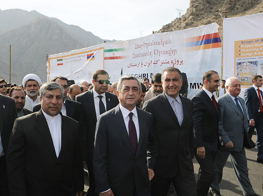 Serzh Sargsyan at the groundbreaking ceremony in Meghri